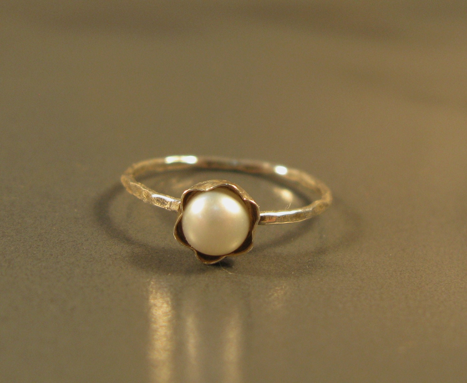 Silver pearl ring petite simple engagement ring fresh water