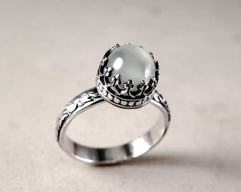 Moonstone Ring, Sterling Silver, white gemstone, Crown setting, Stacking, floral band