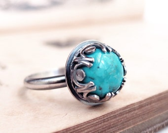 Turquoise ring, Sterling silver, blue gemstone, Renaissance style, December birthstone