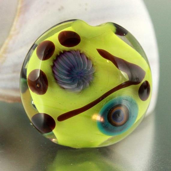 Chartreuse Encased Lentil Murrini Lampwork Glass Bead