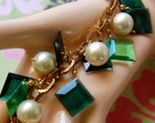 SALE! Orig. 42.00, now 32.00 - Emerald Green Square Charms & Shell Pearl Gold Plated Chain Charm Bracelet