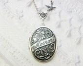 Silver Locket Necklace - MOTHER LOCKET - Silver Mother Locket - Mother of the Bride -Jewelry by BirdzNbeez - Christmas Wife Grandmother Gift