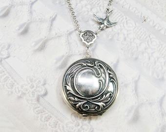 Silver Locket Necklace -The ORIGINAL Silver LOVE LOCKET - Jewelry by BirdzNbeez - Christmas Wedding Birthday Bridesmaids Gift