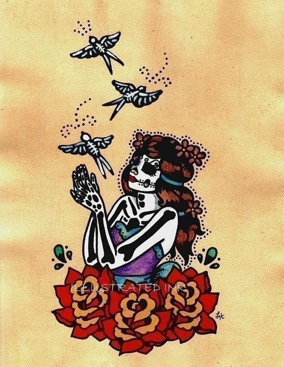 Day of the Dead BIRDS with Beauty Dia de los Muertos Art Print 5 x 7, 8 x 10 or 11 x 14