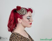 Leopard Print Rose Cocktail Hat, Burlesque Rockabilly Style, with or without Veiling