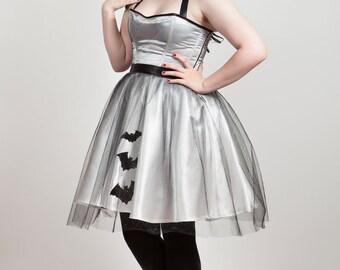 Satin, Glitter & Bats Party Dress, Alternative Prom Dress. Any size, many colors.