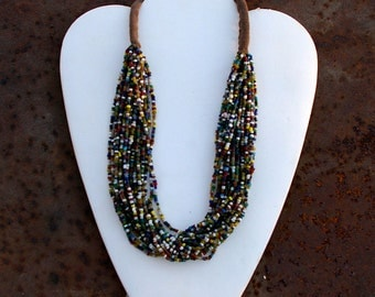 Kuchi Seed Bead Necklace, Multi-Color