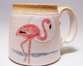 Pink Flamingo Pottery Coffee Mug on white stoneware Limited series 9  (microwave safe)12oz