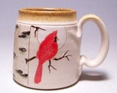 Cardinal and Birch Tree Pottery Coffee Mug AP2  on white stoneware (microwave safe) 12oz