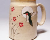 Hummingbird and Flowers  Large 16 oz Pottery Coffee  Mug Limited Series 131