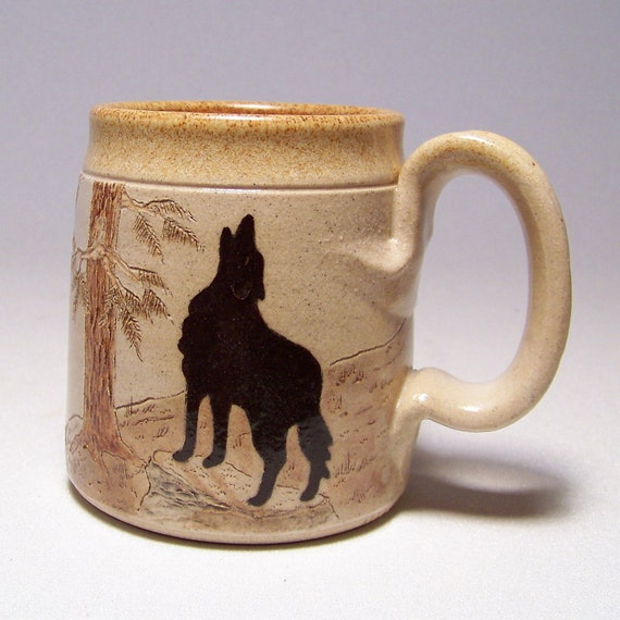 Wolf and Moon Pottery Coffee Mug Limited Series 111 (microwave safe) 12oz