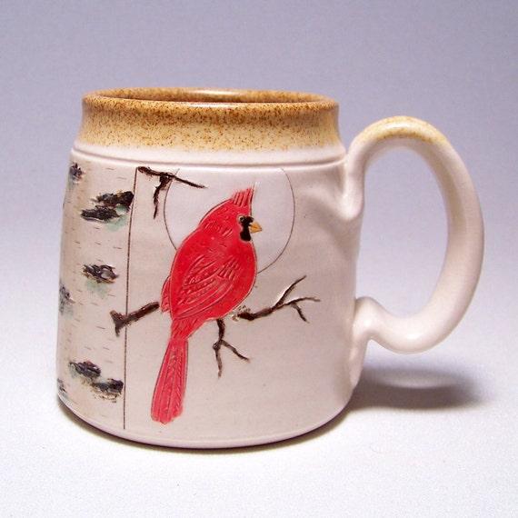 Cardinal and Birch Tree Pottery Coffee Mug AP2  on white stoneware (microwave safe) 12oz