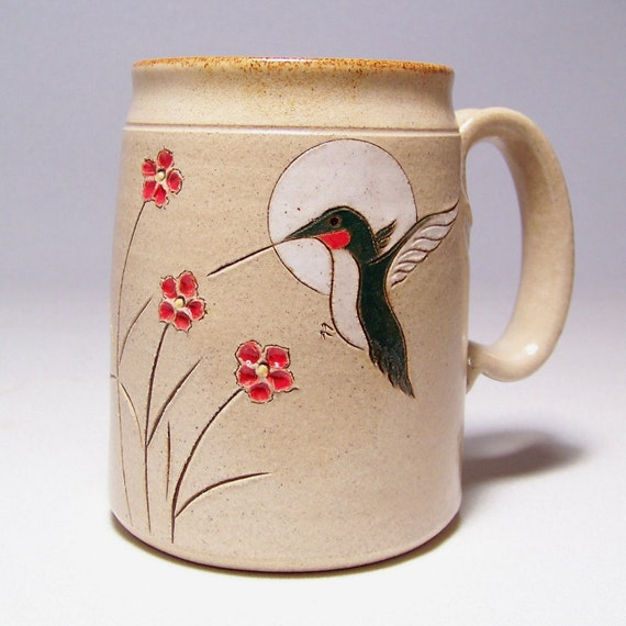 Hummingbird and Flowers  Large 16 oz Pottery Coffee  Mug Limited Series 131