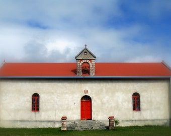 Rural Church Photograph Architecture Photography Red and White Rustic Building Village Church Fine Art Print Lifou Island Home Decor Picture