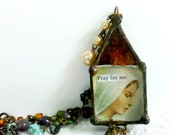 Madonna Rosary Necklace Mary Reliquary Our Blessed Mother Shrine Vintage Bead Chain Religious Assemblage Glass Mary Diorama Jewelry