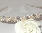 Rhinestone Pearl Tiara, Bridal Tiara, Wedding Jewelry, Crown, Pearl Headband, Rhinestone Head Band, Swarovski Pearls, Prom