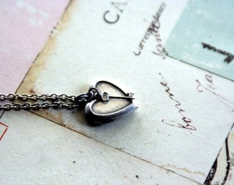 key. heart locket necklace. in silver ox mini and delicate key charm