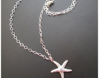 Silver Starfish Necklace, Starfish pendant, Sea Inspired Necklace, Bridal maid Charm Necklace, Friendship necklace, Nickle free necklace