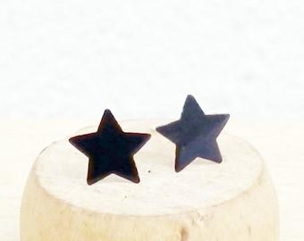 7 mm Star Earrings, Black Flat Star Stud Earrings, 925 Sterling Silver, Cartilage Earrings, Cartilage Piecing Stud