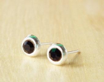Jet Black Crystal Rhinestones Silver Stud Earring - 92.5% Sterling Silver Earrings Charm Jewelry - Gift under 10