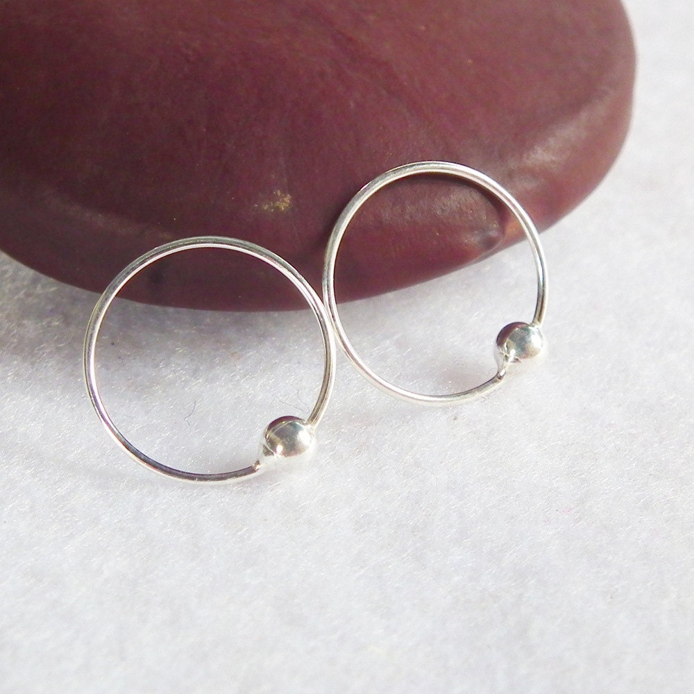13 mm cartilage hoop earrings 925 silver captive bead ring