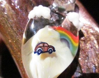 ROADTRIPPIN Pendant VW VOLKSWAGON Bug Rainbow Mountains & Clouds Lampwork Focal Boro Glass Bead made by Helen Lee Hoffman Art for Collector