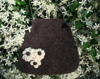 Felted Bag with Knitted Flowers and a Lovely Metal Ball Clasp Handle