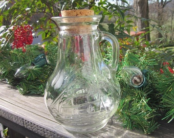 Vintage Glass Pitcher/ Vase - Clear With Ship - Nautical Decor