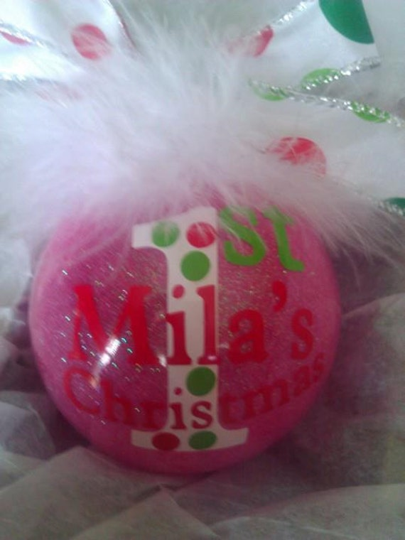 Personalized Baby's First Christmas Ornament Glass Glittler Zebra Maribou dated 2013