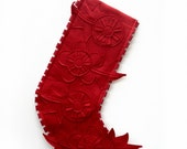 Modern Holiday Stocking by Ahna Holder - Red Floral Stocking