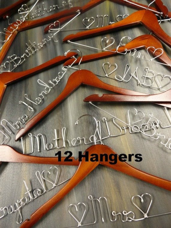 Bridal party hangers personalized hangers by for Wedding dress coat hanger