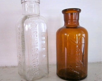 2 Antique Bottles -  Vintage Glass - Lysol, Hires