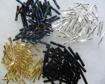 400 Assorted Color Bugle Gunmetal Purple Black Silver Gold Glass 1/2 Inch Twisted Bugle Beads
