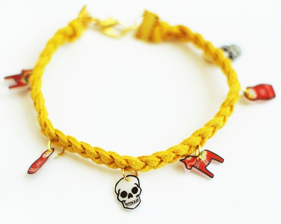 Braided Leather Charm Bracelet - Choose Your Color and Charms