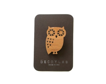 Owl Pin Animal Brooch Bamboo