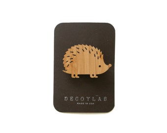 Hedgehog wood brooch, animal brooch,