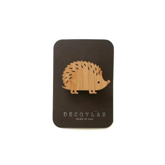Hedgehog wood brooch, animal brooch,