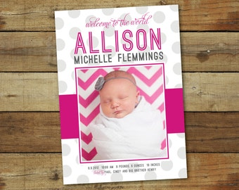 baby girl birth announcement card, modern polka dots, pink and gray