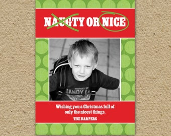 Funny Christmas Card, Naughty or Nice Christmas card, fun holiday card, photo card, personalized with names, photos and colors