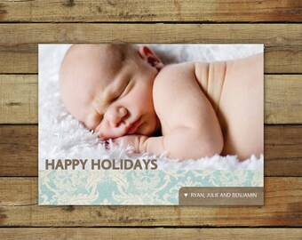 Happy holidays card, photo Christmas card, antique blue damask with brown, printable or printed cards, free overnight shipping