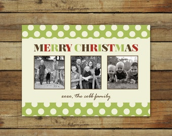Polka dots Christmas card, modern holiday card, photo Christmas card with muted colors