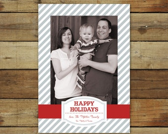 Photo Christmas card, holiday card with gray stripes