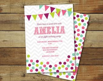 candy birthday invitation, candy birthday party invitation, candy birthday party printable - sweet shop birthday
