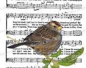 HIS EYE On The Sparrow  Wildlife Nature bird Spiritual Hymn  Song Page  4x6, 5x7, or 8x10  print   F R E E  Shipping