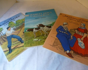 Dover Coloring Books Abraham Lincoln Folk Costumes of Europe Favorite Dogs