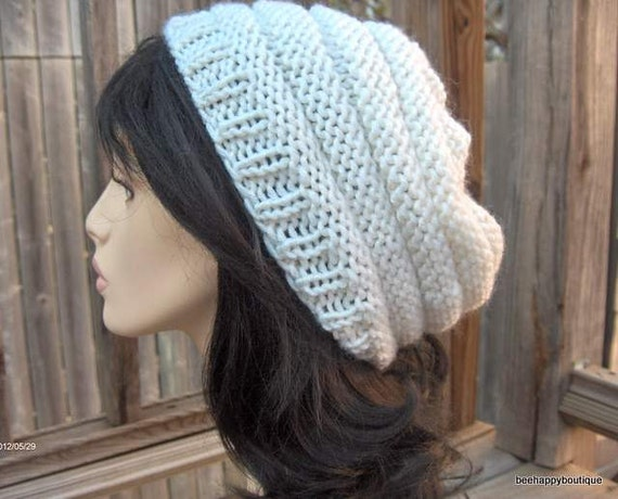 Slouchy Hat Knit Hat Beehive Womens Slouchy Women Tam Hand Knit Hat Handmade