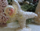 Vintage Style Snowbaby Figurine/Ornament Doing Cartwheel with Pale Yellow Chenille Scarf Handmade Collectible