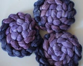 Roving for spinning 80/20 or 50/50 hand dyed silk merino gradient roving PRE ORDER 2ozs blueberry Pie