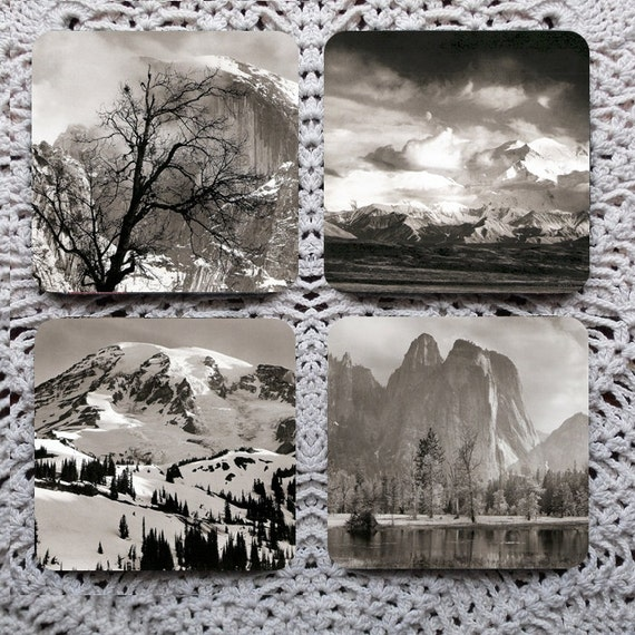Take A Picture - Trees and Mountains Photography Mousepad Coaster Set