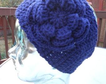 Crochet Headband Earwarmer in navy blue Ladies size Handmade